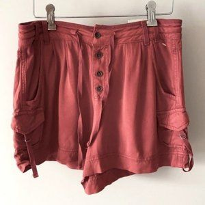 Maurices High Rise Button Fly Cargo Shorts Red